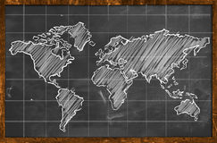 World map chalk drawing blackboard. Wallpaper Stock Photo