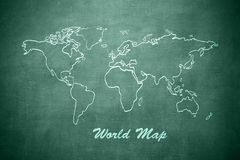 World map on the chalkboard Royalty Free Stock Photo