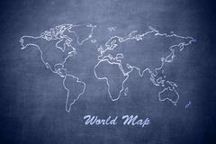 World map on the chalkboard Royalty Free Stock Image