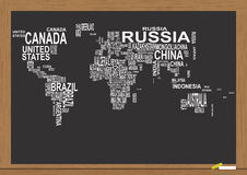 World map chalkboard Stock Images