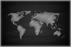 World Map - Chalkboard. Stock Photos