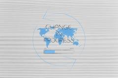 World map with Change caption and progress bar loading surrounde Stock Photography
