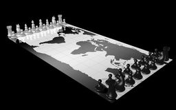World map chess. World map with white and black chess piece, illustrating the concepts of world domination, war, global competition Stock Images