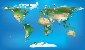 World map for childrens using cartoons of animals and famous lan Royalty Free Stock Images