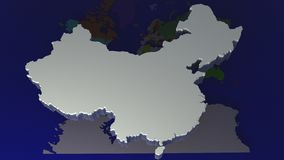 World map with China. On top Royalty Free Stock Images