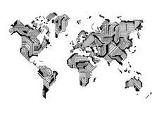 World Map Circuit Board Design Royalty Free Stock Photos