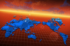 World map circuit board global technology Stock Photography