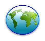 World map on circular button stock photos