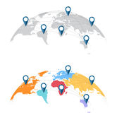 World map with city connections Stock Photos