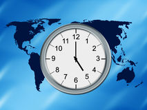 World map and clock. World map background and analog clock Royalty Free Stock Image