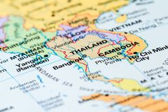 Thailand on a map. World map with a close up of Bangkok, Thailand in focus royalty free stock photo