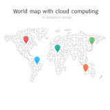 World map with cloud computing in polygonal design. elements of. Vector World map with cloud computing in polygonal design. elements of info graphics Stock Photo