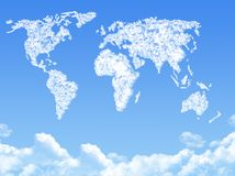 World map on Cloud shaped Stock Photography