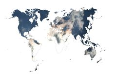 World map with clouds Stock Photos