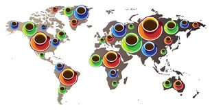 World map with coffee Royalty Free Stock Image