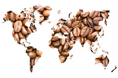 World Map Coffee Beans Stock Image