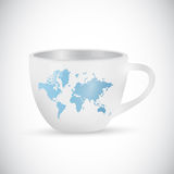 World map coffee mug illustration design Stock Photo