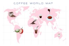 World Map with Coffee Production and Consumption. Coffee Berries, Roasted Coffee Beans and Coffee Drink on World Map Background Stock Photo