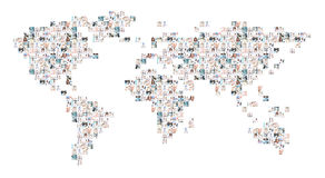 World map collage of medical images