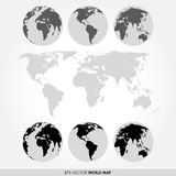 World map collection with flat detailed world map Royalty Free Stock Image