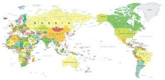 World Map Asia Centered.World Map Color Asia In Center Stock Illustration Illustration