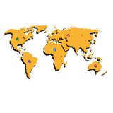 The world map and color buttons. Vector  Royalty Free Stock Photo