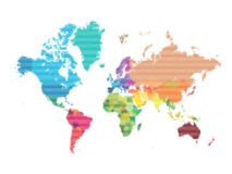 World Map Color. World Map in Colored Tringles Stock Photos