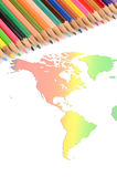 World map and color pencil Royalty Free Stock Images