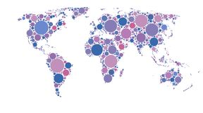 World map of colored circles, multicolor pattern. Well organized layers stock illustration