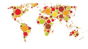 World map of colored circles, multicolor pattern. Well organized layers royalty free illustration