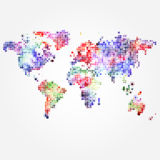 World Map with colored dots of different sizes Stock Photos