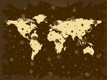 World map with colored earth bubbles Royalty Free Stock Photo