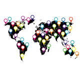 World map with colored pointers Stock Photo