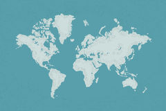 World map with a colorful blue background Royalty Free Stock Photography