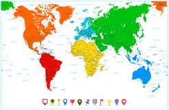 World map with colorful continents and flat map pointers Stock Photos