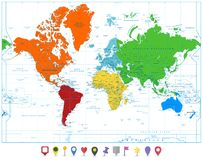 World map with colorful continents and flat map pointers isolate Stock Images