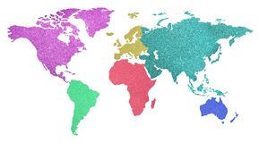World map with colorful continents with glittery background on w. Big world map with colorful continents with shimmering glittery texture on white background stock photography