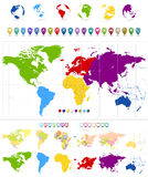 World Map and colorful continents Stock Photography