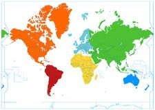 World map with colorful continents. No text Stock Images