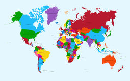 World map, colorful countries atlas EPS10 vector f. World map, colorful countries with text Atlas illustration. EPS10 vector file organized in layers for easy royalty free illustration
