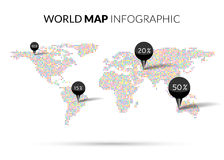 World Map colorful Dot illustration infographics Royalty Free Stock Images