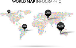 World Map colorful Dot illustration infographics with points pins and percentage on dark background. Halftone Dotwork Royalty Free Stock Image