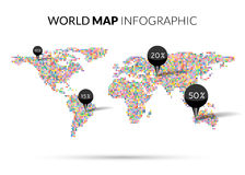 World Map colorful Dot illustration infographics with points pins and percentage on dark background. Halftone Dotwork Stock Photo