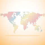 World map colorful. World map dotted colorful vector on orange background royalty free illustration