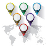 World Map Colorful Markers Royalty Free Stock Photos