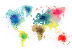 World map colorful splash. World map with colorful paint splashes royalty free illustration
