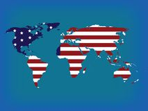 World map in colors. World map with american flag, hi resolution illustration Stock Photo