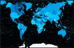 World Map in colors of blue  on black Stock Photo