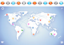 World Map Communication Stock Images