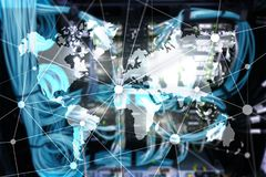 World map with communication network on seroom background. World map with communication network on server room background Stock Photography